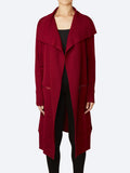 Yeltuor - VERGE - Jackets & Coats - VERGE CASHMORE WOOL KNIT COAT - RUBY MARLE -  XS