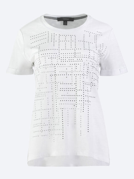Yeltuor - VERGE - Tops - VERGE EXIT EMBELLISHED TEE - WHITE -  XS
