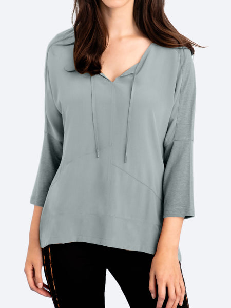 Yeltuor - VERGE - Tops - VERGE FREYA PANELLED SILK TOP -  -