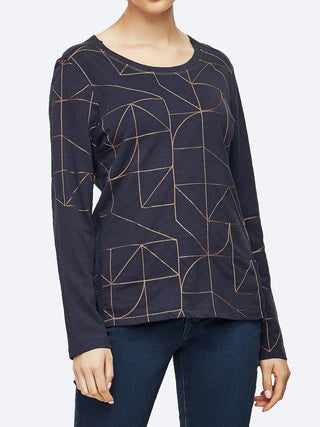 Yeltuor - VERGE - Tops - VERGE WISHLIST TOP - BLUE VELVET/TOFFEE -  XS