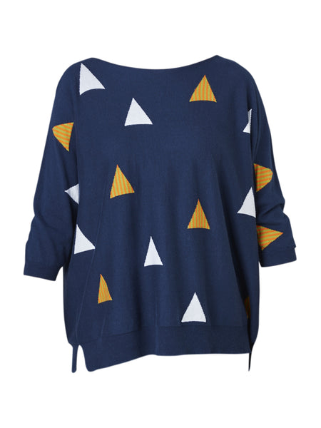Yeltuor - ZAKET AND PLOVER - Knitwear - ZAKET & PLOVER 3/4 SLV TRIANGLE KNIT - NAVY -  S