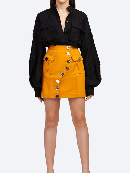 Yeltuor - ACLER - Skirts - ACLER ETCHELLS DENIM SKIRT - DARK GOLD -  8