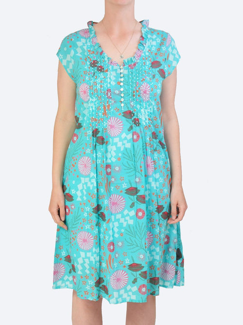 Yeltuor - CAKE - Dresses - CAKE DARLING COTTON DRESS - AQUA COSMOS -  XS