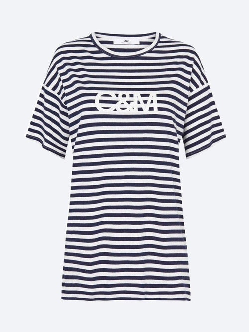 Yeltuor - CAMILLA AND MARC - Tops - C&M by CAMILLA AND MARC STRIPE LOGO BOYFRIEND TEE -  -