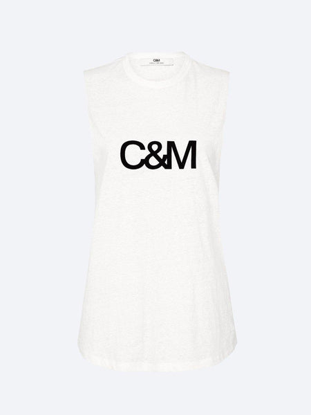 Yeltuor - CAMILLA AND MARC - TOPS - C&M by CAMILLA AND MARC CLASSIC MUSCLE LOGO TANK - WHITE -  6