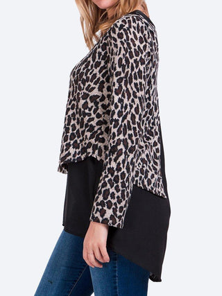Yeltuor - CAROLINE K MORGAN PTY LTD - Tops - CAROLINE K MORGAN LONG SLEEVE DOUBLE LAYER ANIMAL PRINT TOP -  -