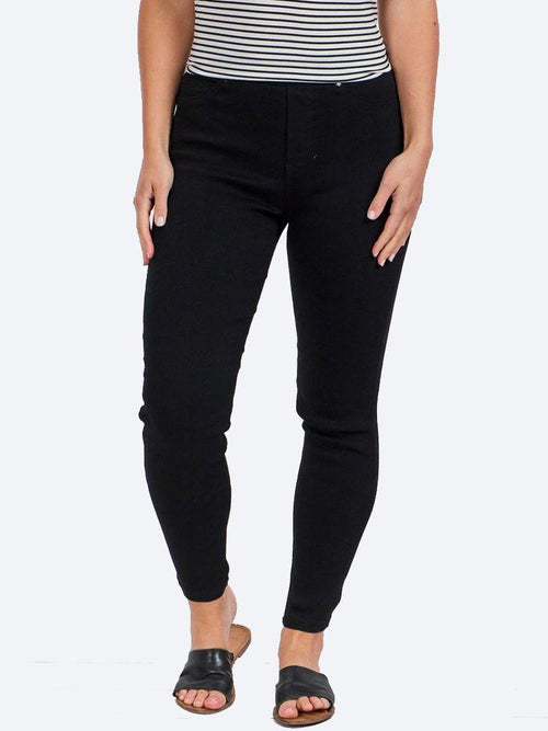 Yeltuor - CAROLINE K MORGAN PTY LTD - Pants - CAROLINE K MORGAN STRETCH PULL ON JEANS - BLACK -  8
