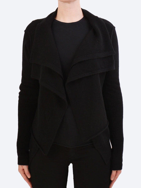 Yeltuor - JAMES MELBOURNE - Knitwear - JAMES CASHMERE DOUBLE LAYER JACKET - BLACK -  S