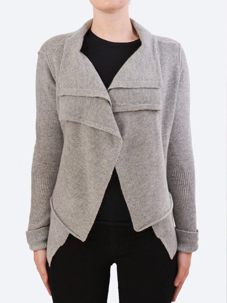 Yeltuor - JAMES MELBOURNE - Knitwear - JAMES CASHMERE DOUBLE LAYER JACKET - FLOWER GREY -  S