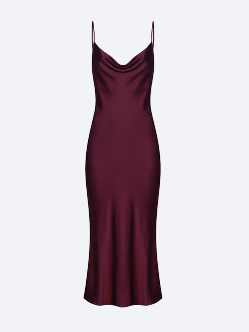 Yeltuor - SHONA JOY - Dresses - SHONA JOY MIA BIAS COWL MIDI DRESS - BURGUNDY -  8