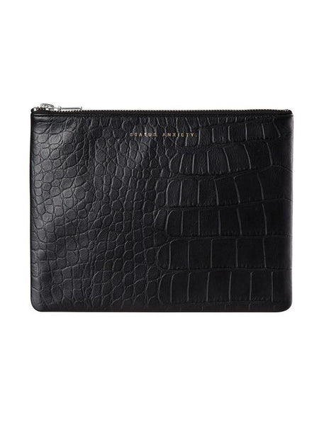 Yeltuor - STATUS ANXIETY - BAGS - STATUS ANXIETY ANTI HEROINE CLUTCH - BLACK CROC -  N/A