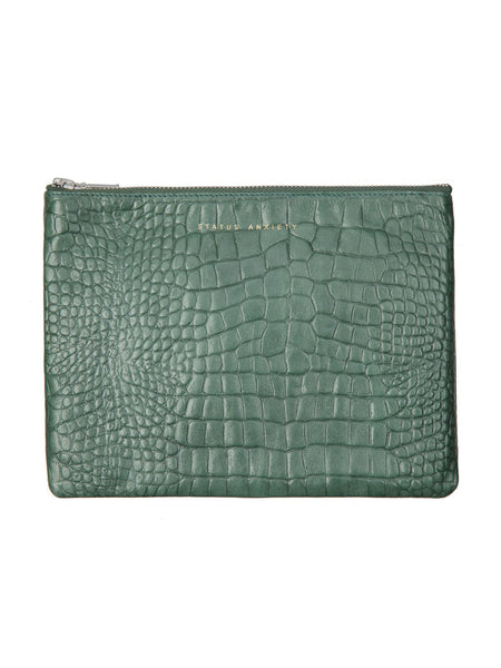 Yeltuor - STATUS ANXIETY - BAGS - STATUS ANXIETY ANTI HEROINE CLUTCH - TEAL CROC -  N/A