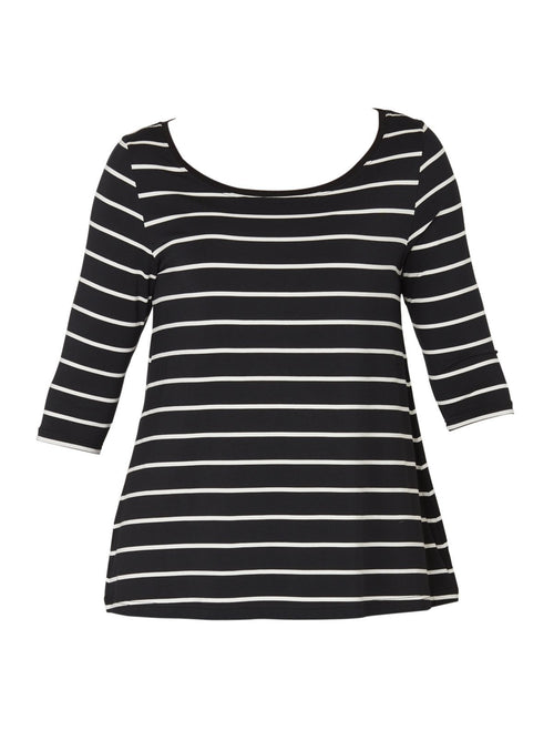 Yeltuor - TANI - TOPS - TANI 3/4 SLEEVE STRIPE SWING TOP -  -