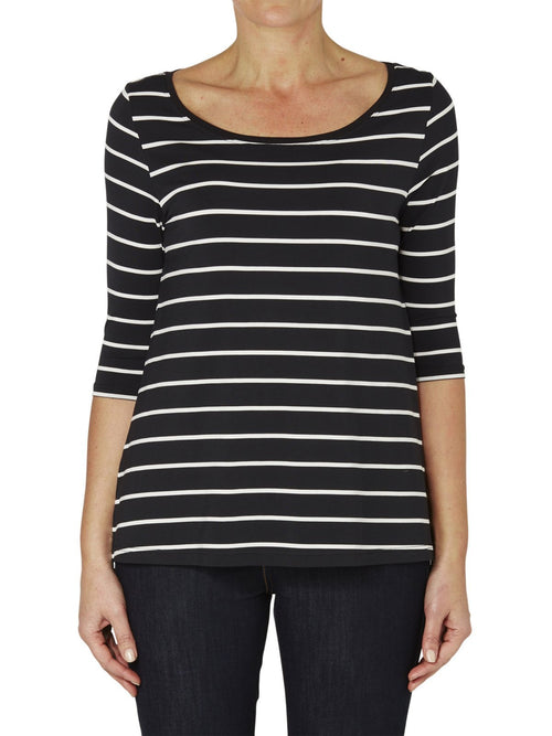Yeltuor - TANI - TOPS - TANI 3/4 SLEEVE STRIPE SWING TOP - AMALFI -  8