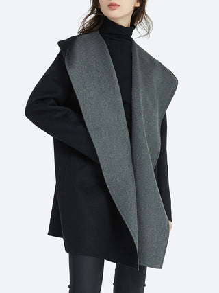 TIRELLI CONTRAST BIG COLLAR WOOL COAT