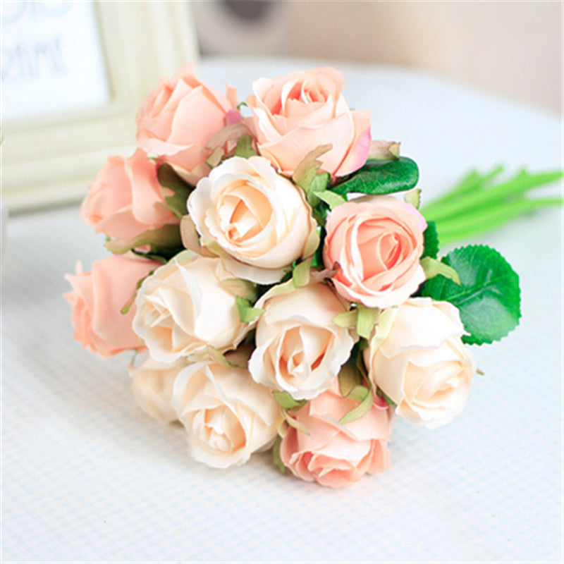 12pcs Lots Artificial Rose Flowers Wedding Bouquet White Pink Thai Royal Silk Home