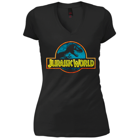 Jurassic Park Jurassic World Logo Womens V-Neck T-Shirt Black / S Womens V-Neck T-Shirt - FanClub Gifts