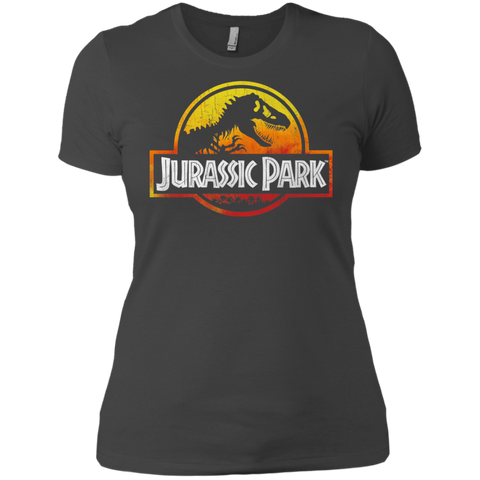 Jurassic Park Sunset Logo= Womens Cotton T-Shirt