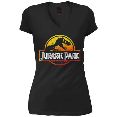Jurassic Park Sunset Logo Womens V-Neck T-Shirt