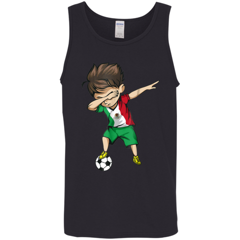 Dabbing Soccer Boy Mexico Jersey Shirt - Mexican Football Mens Cotton Tank Top