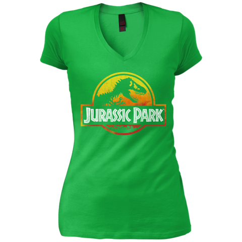 Jurassic Park Sunset Logo= Womens V-Neck T-Shirt