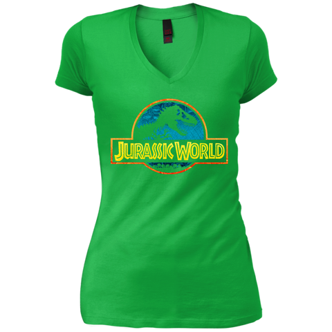 Jurassic Park Jurassic World Logo Womens V-Neck T-Shirt