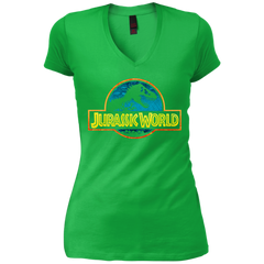 Jurassic Park Jurassic World Logo Womens V-Neck T-Shirt Womens V-Neck T-Shirt - FanClub Gifts