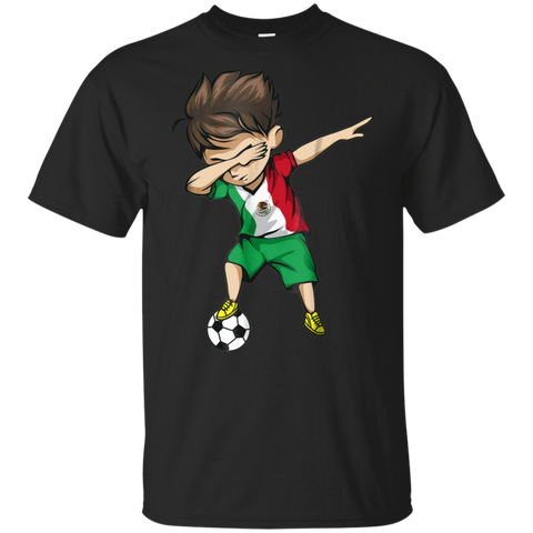 Dabbing Soccer Boy Mexico Jersey Shirt - Mexican Football Boys Cotton T-Shirt