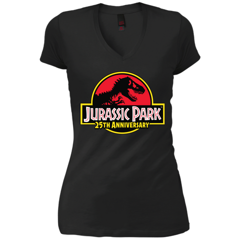 JurassicPark 25th Anniversary= Womens V-Neck T-Shirt