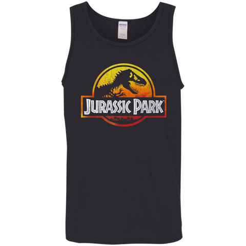 Jurassic Park Sunset Logo= Mens Tank Top