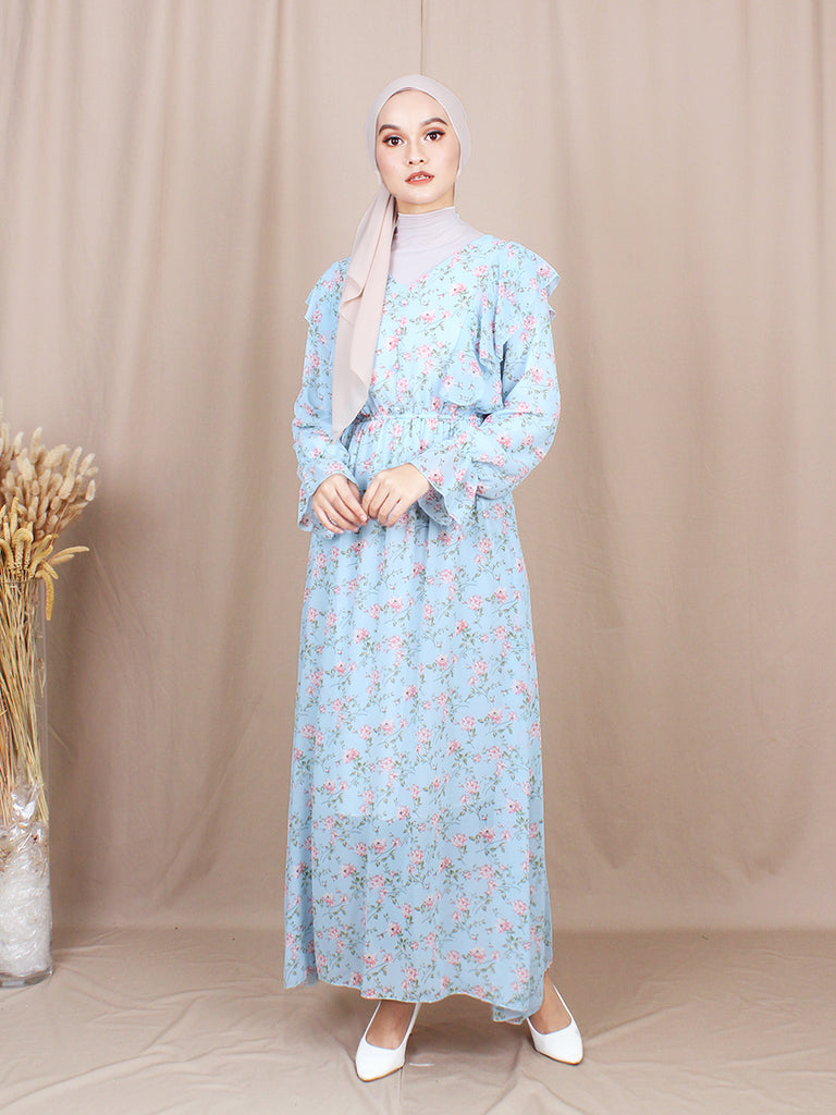 PANSY FLORAL LONG DRESS BD214