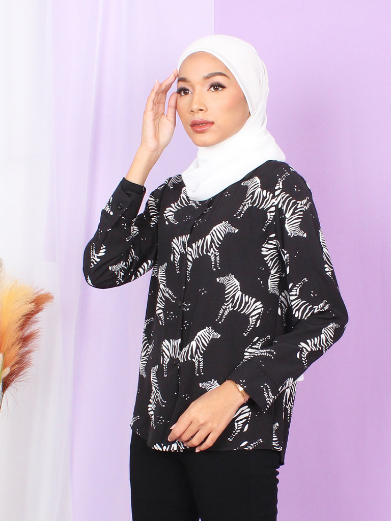 ZEBRA PATTERN BLOUSE SHIRT BT892
