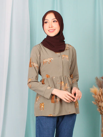 CHEETAH WAIST TIE BLOUSE BT946