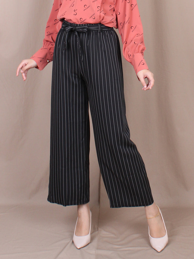 WAIST STRIPED BELTED PALAZZO BP089
