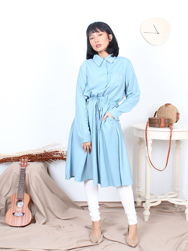 SILKY PLAIN LONG SHIRT BT368