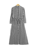 SOLID STRIPE BUTTON DRESS BD275