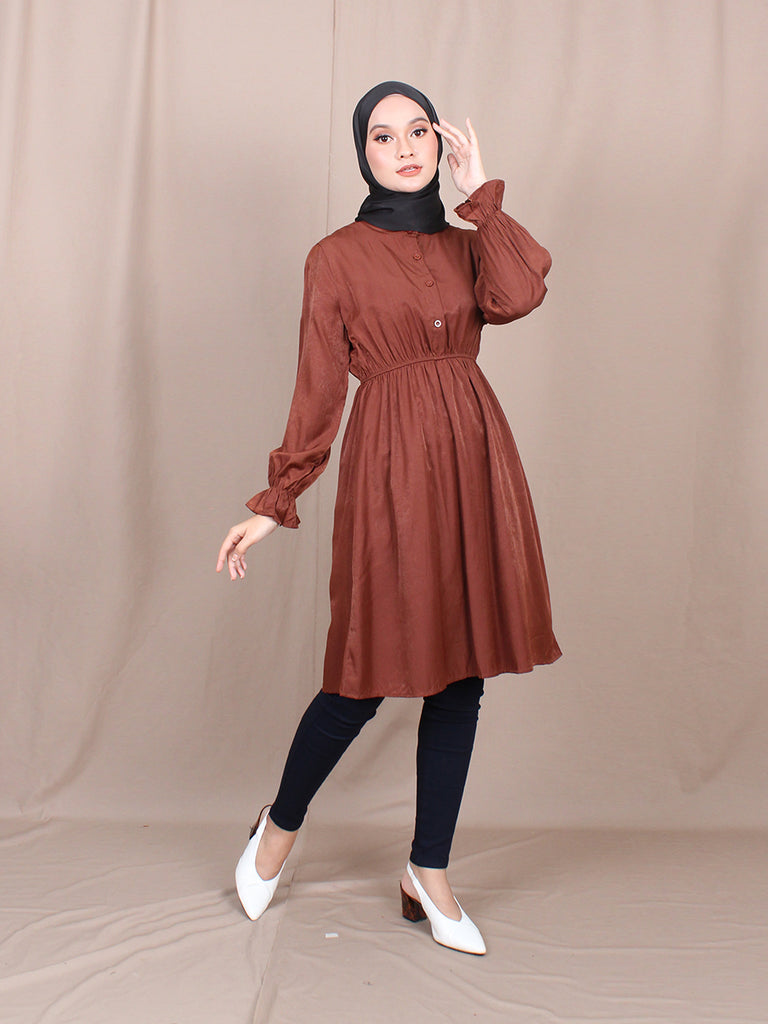 RUFFLE COLLAR STRETCHABLE TUNIC BT785