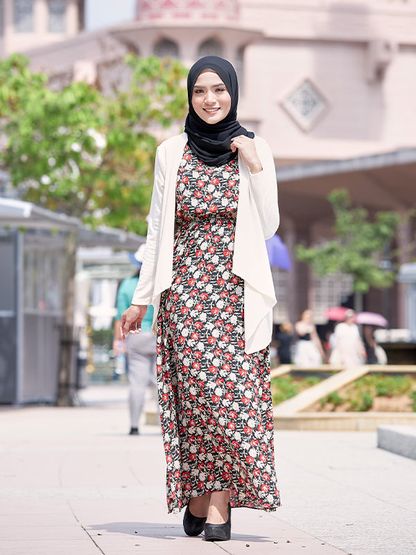 SLEEVELESS FLORAL LONG DRESS BD110