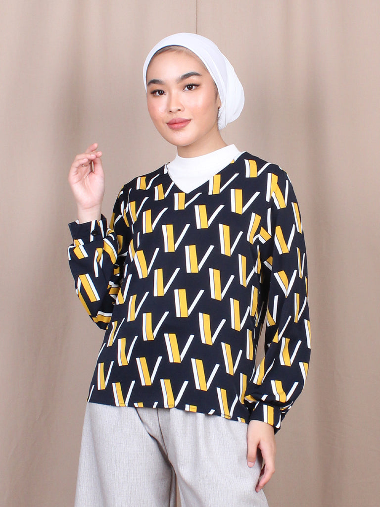 V PATTERN BLOUSE BT818