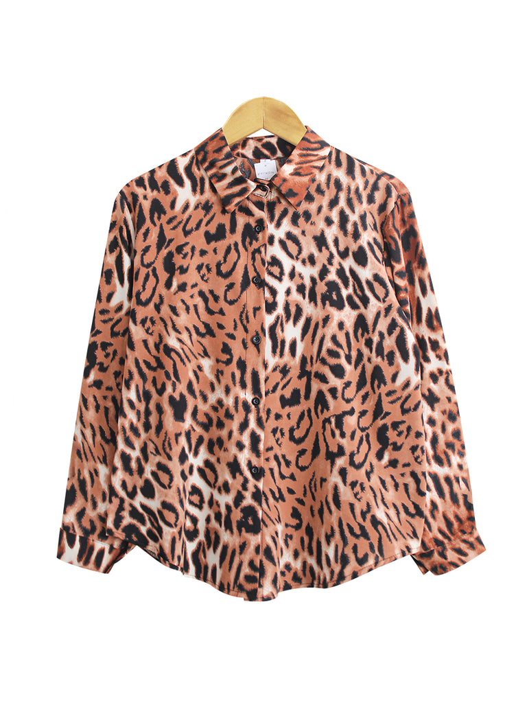 LEOPARD PRINT BLOUSE SHIRT  BT911