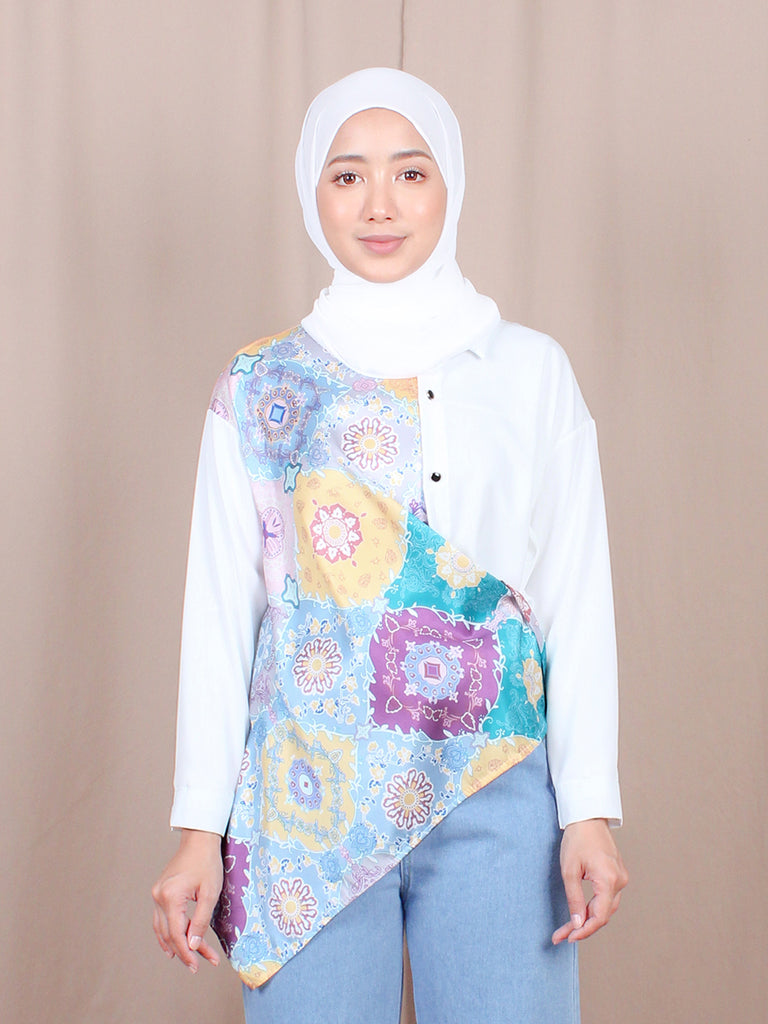 FLORAL AQUA BLOUSE SHIRT BT860