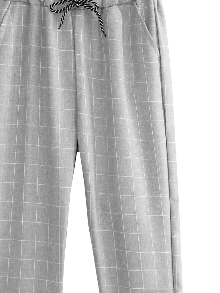 CHECKED TAPERED PANTS BP099