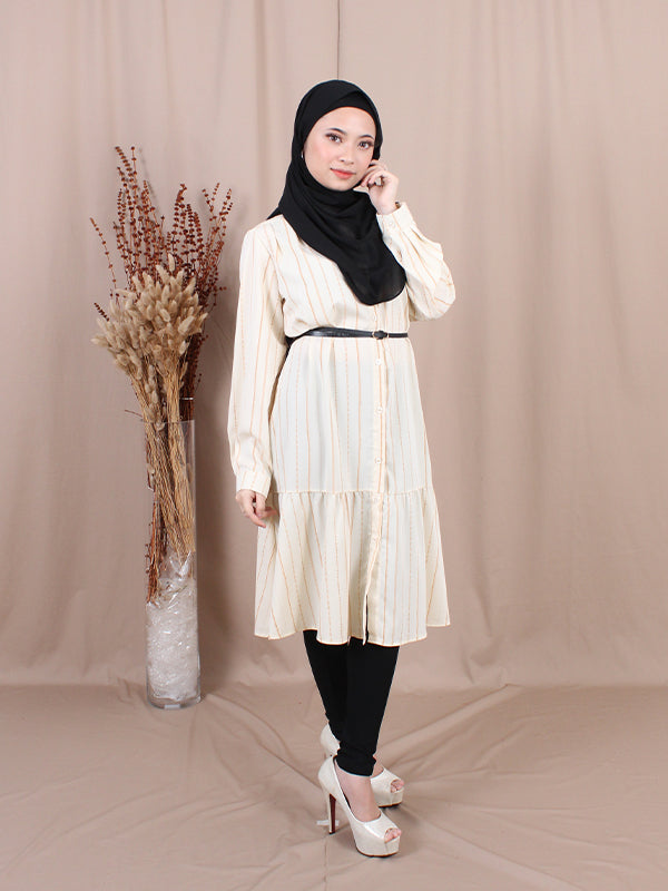BUTTON DOWN BELTED TUNIC BT661