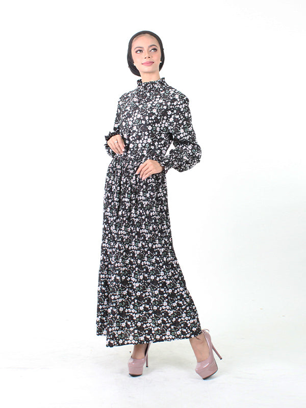 COTTON STRETCHY NECKED LONG DRESS BD84