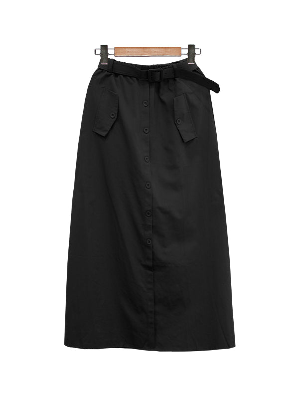 BUTTON DOWN LOW MIDI SKIRT BS21