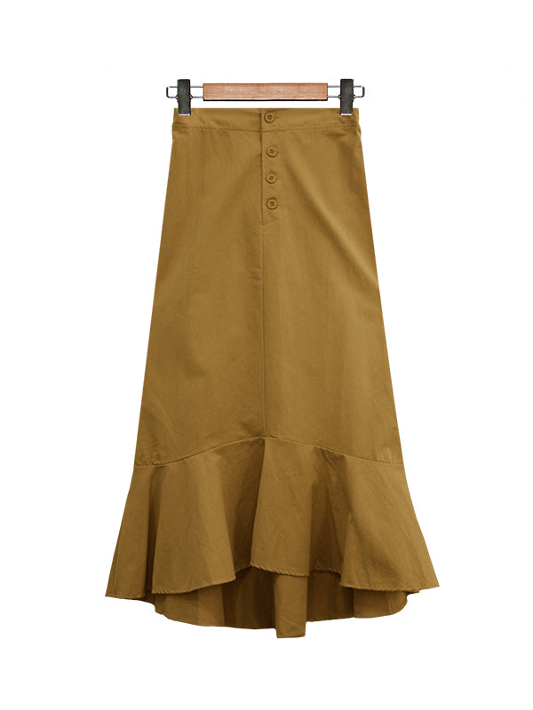 BUTTON FRILL MIDI SKIRT BS20