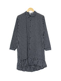 COTTON CHECKERED LONG-SHIRT BLUE BT202