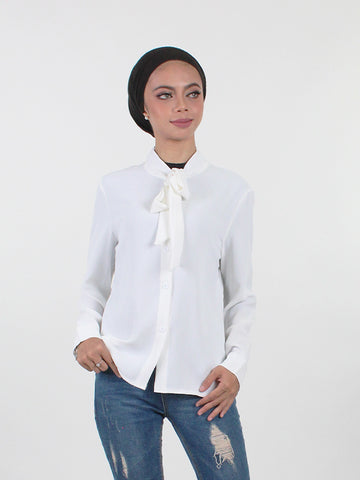 COTTON SILK RIBBON TIED NECK BLOUSE WHITE BT252