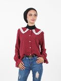 POLKA DOTS LACED SHIRT BT274