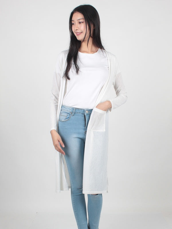 Long Cardigan White AJ74